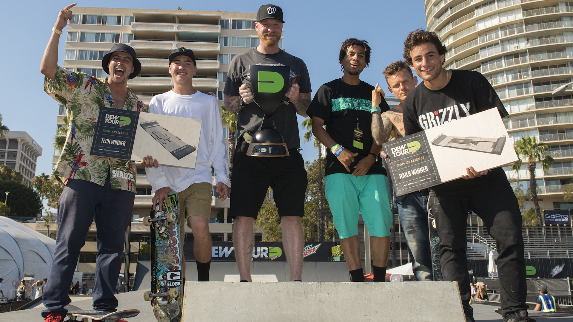 bLind Skateboards may have been an underdog against the stacked list of teams, but after Dew Tour's Team Challenge it is unlikely they will ever be slept on again. (L to R) TJ Rogers, Trey Wood, Bill Weiss, Kevin Romar, Cody McEntire and Micky Papa. Photo: Chami