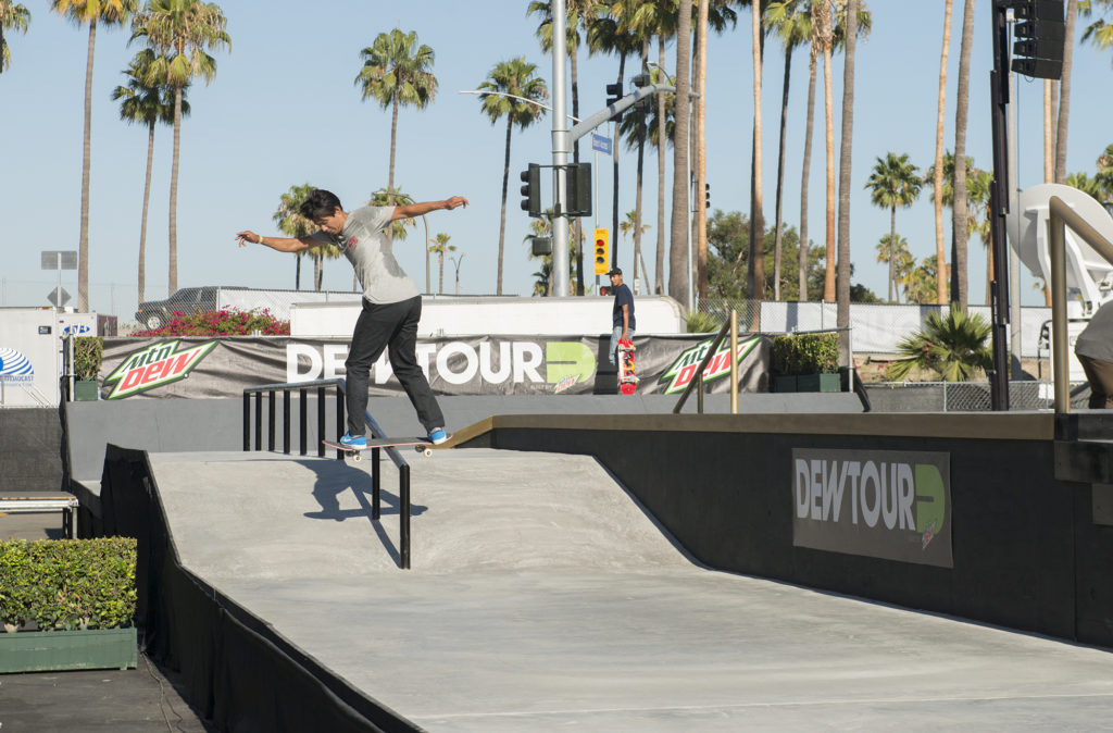 Sean Malto showcasing his effortless style with a backside lipslide down the Long Freaking Rail. Photo: Chami