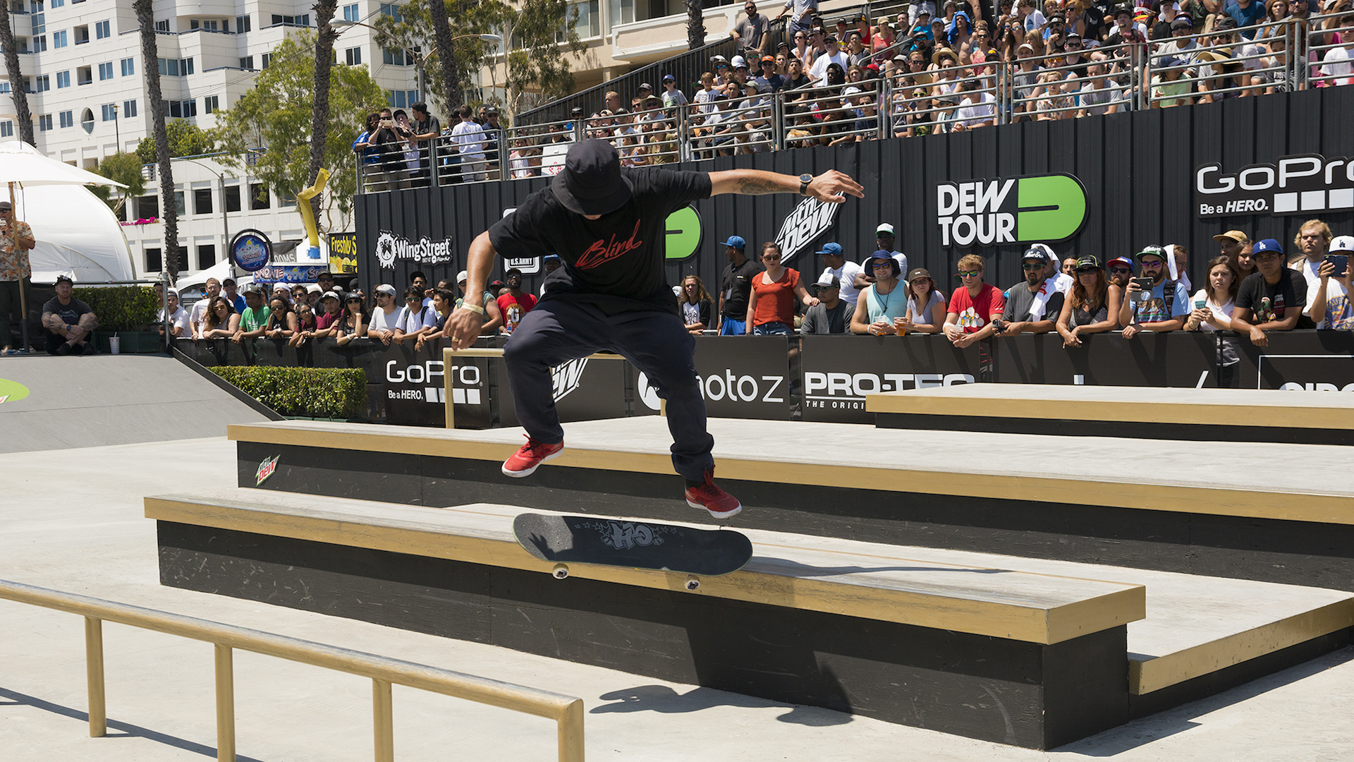 In the first heat of the first section, TJ Rogers set the stage for the Team Challenge by earning the top score and landing tricks like this nollie kickflip noseslide 270 shuv out. Photo: Chami