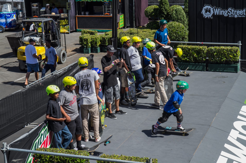 Keeping the youth stoked with Action Sports Kids (ASK) Foundation and Tha Hood Games skaters ripping our four courses. Photo: Durso