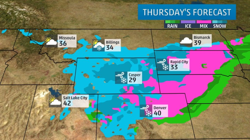 Thursday's forecast for the storm system from Weather.com.